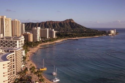Waikiki Beach and Diamond Head, Oahu, Hawaii