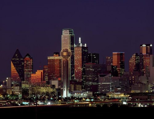 Dusk view of the Dallas, Texas skyline.