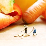 business, carrot, close up, cook, cucumber, dish, doll, figure, food, foodstuff, hood, macro, midget, model, one, onion, pepper, powder, seed, small, tomatoes, vegetable, wood, wooden - tiny dolls cooking vegetables
