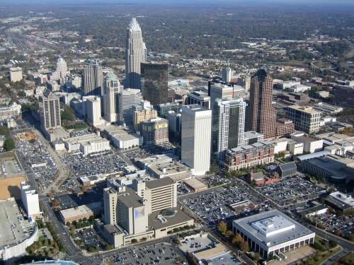 charlotte north carolina, aerial view, buildings
