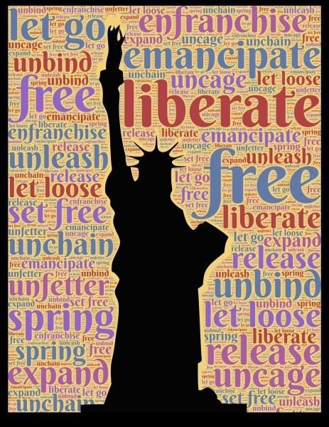 statue-of-liberty-with behind letters liberate