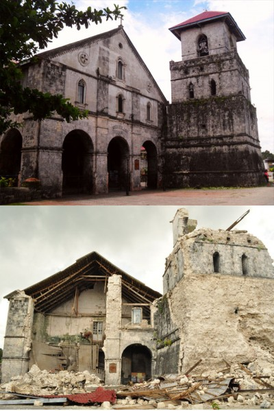 Inmaculada_Concepcion_Parish_Church,_Baclayon,_Bohol_(Before_and_After_2013_Bohol_Earthquake)