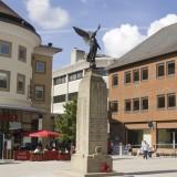 surrey, shops, horizontal, landmark, restaurant, war memorial, people, editorial, outdoors, redevelopment, image, monument, woking, town centre, shoppers, exterior, memorial