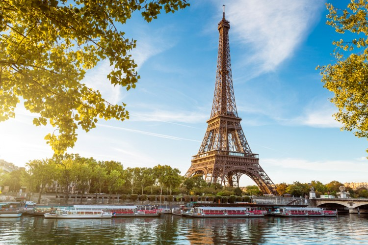 paris, eiffel, tower, summer, view, river, tree, travel, sun, sunset, scene, water, landmark, tourism, france, seine, sunrise, european, urban, symbol,
