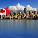 Canadian flag, port, water, buildings, city, how to move to Canada with no money