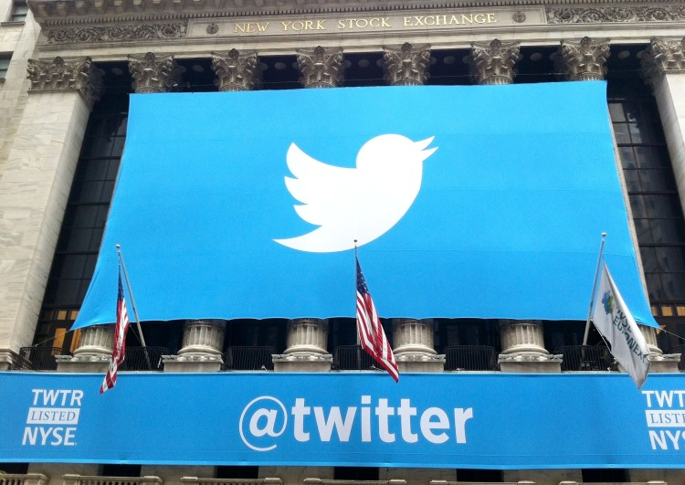 Twitter Inc (NYSE:TWTR), logo, sign, symbol, building, wall,