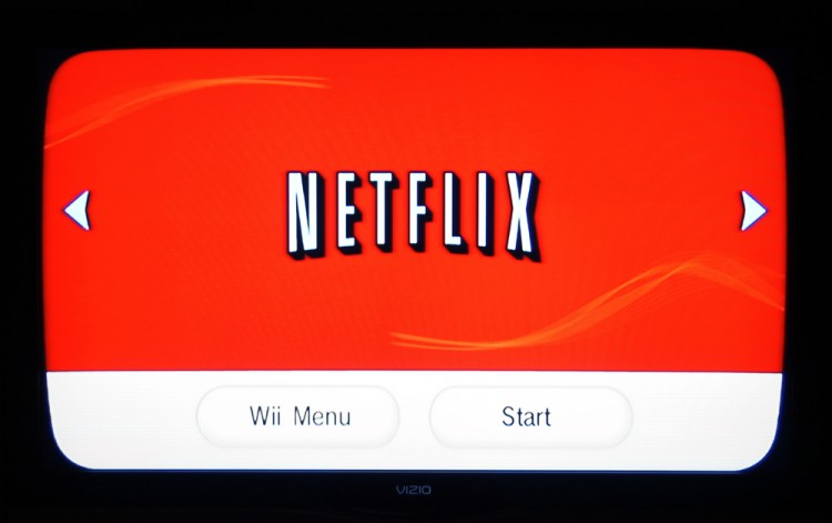 Netflix, Inc. (NASDAQ:NFLX), Netflix menu on the Wii channel, Sign, logo, Brand, Program, Start, Streaming, Surfing,