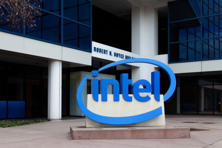 Intel Corporation (NASDAQ:INTC), Logo, Sign, Building, Headquarters