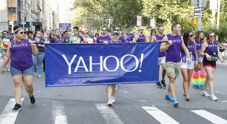 Yahoo! Inc. (NASDAQ:YHOO), Yahoo flag, Sign, Pride Parade, logo, march, Human Rights,