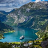 norway, fjord, geirangerfjord, ship, tourism, summer, romsdal, nobody, green, travel, calm, day, attraction, deep, geiranger, heritage