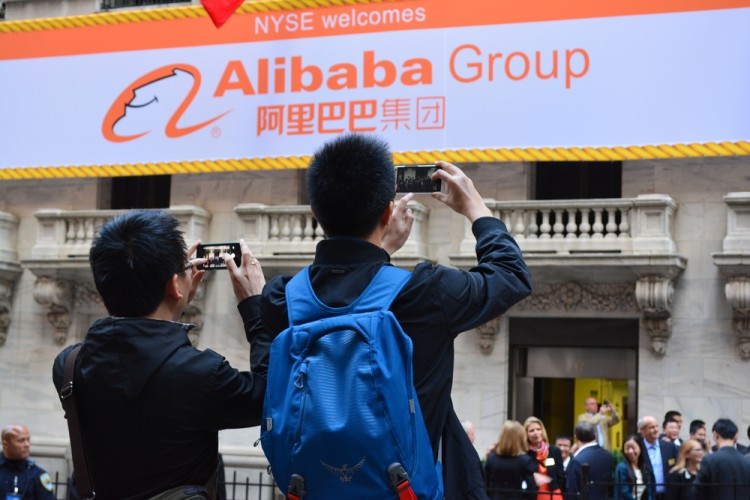 Alibaba Group Holding Ltd (NYSE:BABA), Logo, big sign, People taking photos, offering, ipo, group, stock
