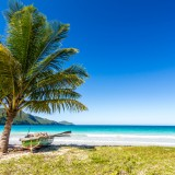 beaches in Caribbean, Playa Rincon, near Las Galeras, blue, sky, sea, beautiful, water, nature, palm, galeras, republic, landscape,