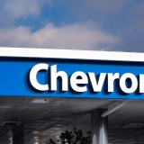 Chevron Corporation (NYSE:CVX), Sign, gass station, logo, Symbol, oil, fuel