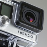 GoPro Inc (NASDAQ:GPRO), Action Camera, Hero 4, Close up, Isolated,