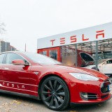 Tesla Motors Inc (NASDAQ:TSLA), Car, Model S, Sign, Showroom, Brand, Logo, automotive, sales