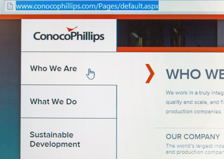 ConocoPhillips (NYSE:COP), homepage, website, oil company, logo, sign, symbol