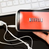 Netflix, Inc. (NASDAQ:NFLX), Netflix service, logo, phone, htc, symbol, sign, red