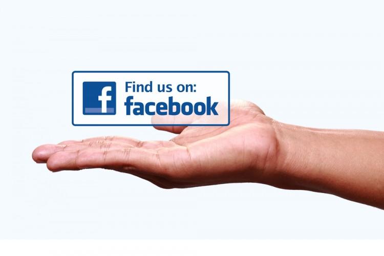 "Facebook Inc (NASDAQ:FB), ""find us on facebook"" hand showing, icon, website, social network"