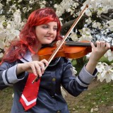 cosplay, cosplayer, anime, subculture, role play, violin, playing, magnolia, fiddle, caucasian, stage costume, smiling, youth, girl, standing, garden, flowering, wig,