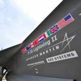 Lockheed Martin (NYSE:LMT); F-35 Lightning fighter, jet, strike, logo, sign, symbol,
