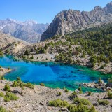 tajikistan, outdoor, fany, tree, clear, green, travel, calm, view, rocky, mountains, sunny, scenery, lake, moraine, spectacular, sunshine, forest, beautiful, nature, landscape