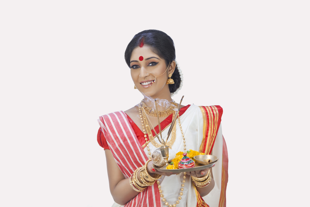 Indian Woman Portrait of Bengali woman with puja thali Hinduism Hindu