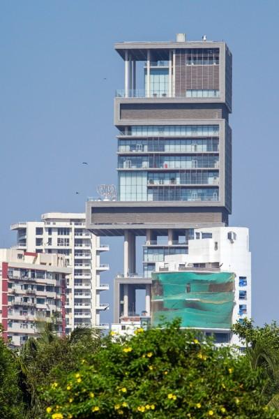 antilia, ambani, mumbai, india, apartment, nobody, expensive, travel, landmark, culture, bombay, bright, wealth, palace, luxury, realty, building, asia, elegant, historic,