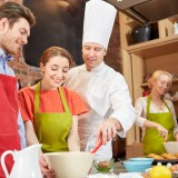 class, cooking, chef, food, kitchen, concept, group, toque, meal, friends, courses, mixing, friendship, restaurant, mentor, baking, people, boyfriend, teaching, smiling,