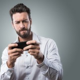 playing, man, mobile,