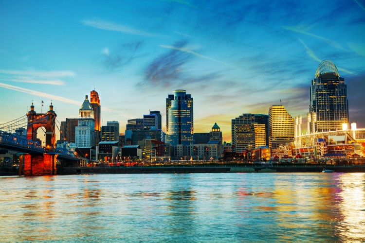 cincinnati, ohio, waterfront, dusk, skyscraper, downtown, usa, river, travel, illuminated, urban, suspension, night, skyline, twilight, building, reflection, architecture, city, water, bridge, office, lights, cityscape