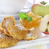 delicious, dessert, sweet, pancake, jam, sugar, apple, fresh, food, batter, mint, raw