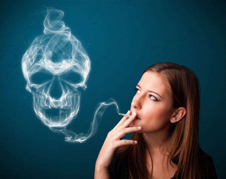 Chemicals in Cigarettes That Cause Cancer, smoking, skull