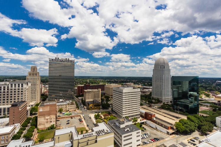 salem, winston, north, carolina, triad, downtown, piedmont, green, white, business, urban, horizon, skyline, finance, clouds, architecture, city, blue, buildings, sky, scene, cityscape