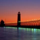 michigan, lake, sunset, historical, lake michigan, lighthouse, sunrise, grand haven lighthouse, light, port, old, great lakes region, dusk, building