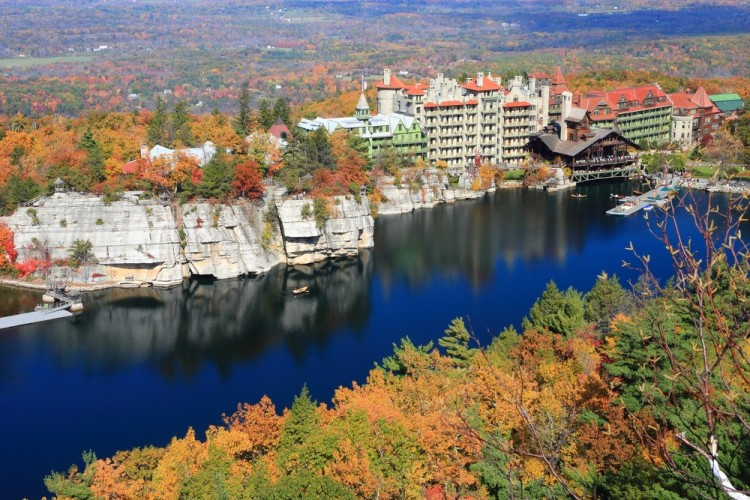 mohonk, mountain, leaves, ripples, destination, strata, rocks, autumn, travel, preserve, trees, rowboat, lake, people, sandstone, dock, shawangunk, fall, colorful, house, boat, cliff, resort, hotel, gazebo, reflections, upstate New York,The 11 Best Places to Stay in Upstate New York