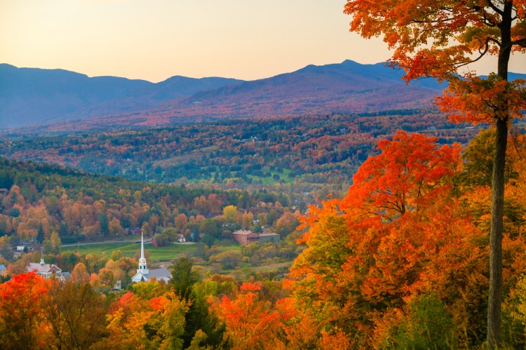fall, vermont, autumn, usa, building, sunset, vt, leaves, tree, autumn landscape, america, town, foliage, north, community, sunrise, red, yellow,11 Best Places to Visit in Vermont in Fall