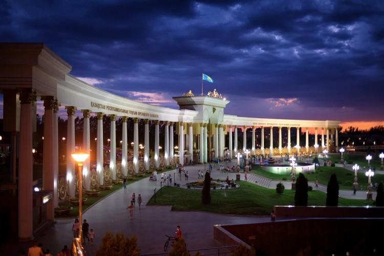 kazakhstan, park, green, white, president, central, urban, landmark, column, night, summer, light, entrance, clouds, asia, almaty, architecture, city, blue, beauty, sunset, outdoors, sight, first, beautiful, nature