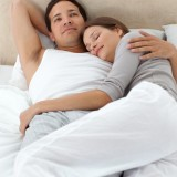 affection, asleep, beautiful, bed, bedroom, calmness, comfort, couple, dream, ease, free, freedom, full, handsome, happiness, happy, home, house, hug, length,