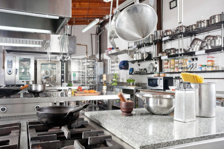 kitchen, interior, clean, steel, stainless, oven, stove, metallic, counter, metal, pasta, gas, silver, food, pestle, nobody, hanging, grate, pot, iron, horizontal, appliance,