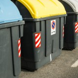 rubbish, street, organic, horizontal, yellow, refuse, recycling, environmental, recycle, rubish, waste, trash, bins, multicolored, several, dump, collection, blue, selective,