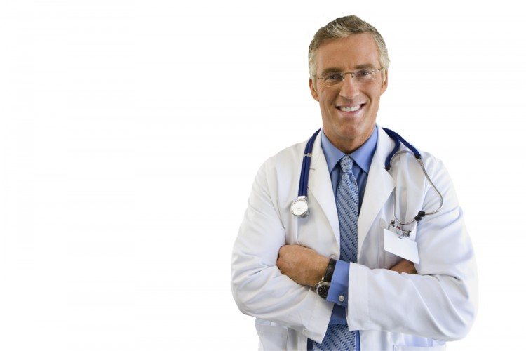 doctor, white, up, cut, isolated, medical, view, arms, adult, out, stethoscope, only, people, caucasian, smiling, confidence, portrait, front, standing, mid, coat, men, at,