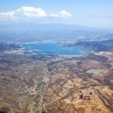 view, aerial, hazy, shore, fun, dew point, arizona, mountains, swimming, sunny, cliffs, marina, islands, summer, southwest, phoenix, hills, roads, lake pleasant, lake,