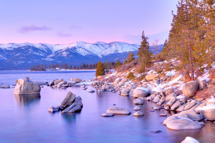 lake, winter, california, nevada, tree, goeology, boulder, sunset, lake tahoe, water, snow, nature, landscape11 Most Wanted Second-Home Spots in the U.S.