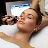 treatment, facial, skin, spa, medical, clinic, face, care, slim, woman, salon, apparatus, tool, beautician, girl, human, model, young, instrument, skincare, lies, isolated,