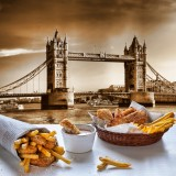 fish, chips, tower, table, take, fried, travel, london, history, touristic, england, architecture, newspaper, french, cuisine, british, tourism, thames, food, sauce, uk, kitchen,