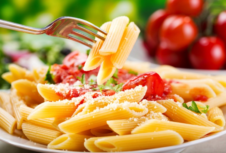 pasta, food, fork, plate, dinner, mediterranean, fresh, penne, meal, nobody, red, vegetable, tomato, healthy, lunch, cheese, spaghetti, refreshment, herb, ingredient, penne pasta, sauce, italian food