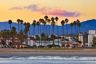 barbara, santa, california, beach, coast, street, palm, ocean, usa, pier, sunset, tree, twilight, us, resort, america, town, backlit, vibrant, green, cloud, calm, vivid, dramatic,