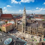 munich, marienplatz, aerial, square, town, view, landmark, attraction, skyline, germany, frauenkirche, bavaria, hall, building, church, famous, architecture, city, munchen, europe