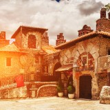 dominican, romana, outdoor, sunlight, italian, brick, park, green, travel, spain, italy, trees, sunny, history, old, village, sun, traditional, paradise, caribbean, garden, la, rural,