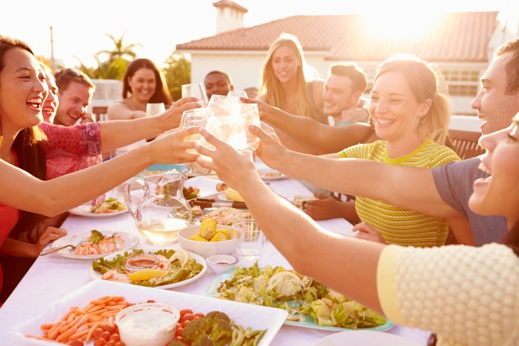 friends, eating, outdoors, wine, summer, drinking, meal, group, fun, food, home, having, laughing, asian, at, alcohol, salad, talking, ethnic, racial, black, african, men, multi, Top 11 Countries that are Most Friendly to Expats and Retirees